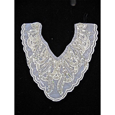 "Designer Motif neckline with Sequins and White Pearls  13"" x 11"""