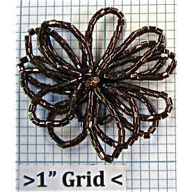 "Beaded flower with pearl like center. BRONZE 2"" - Sequinappliques.com"