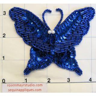 "Butterfly Blue with Pearls 4"" x 4"""