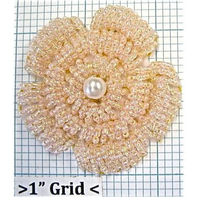 Flower Beaded with Light Pink Iridescent Beads and Pearl Center  2.5""