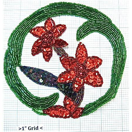 Weath with Green Beads and Red Flowers 5.5""