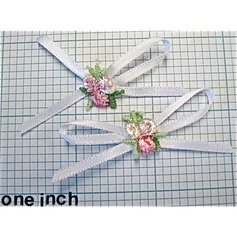 "Flower Set of Two, Pink Embroidered Flowers with White Ribbon Bow  2"" x 1"""