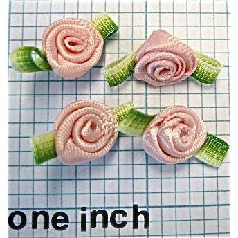 Flower Rose Set of 4 Pink and Green 1""
