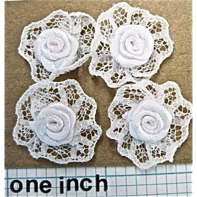 Flower Set of  White Lace Flowers 1""