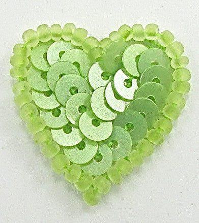 Heart with Lime Green Sequins and Beads 3/4""