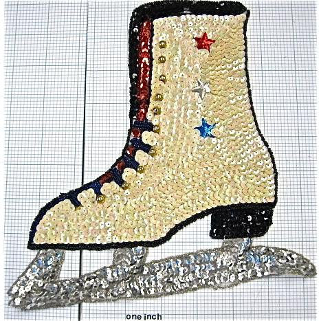 "ICE SKATE with Beige Sequins  9"" X 8"""