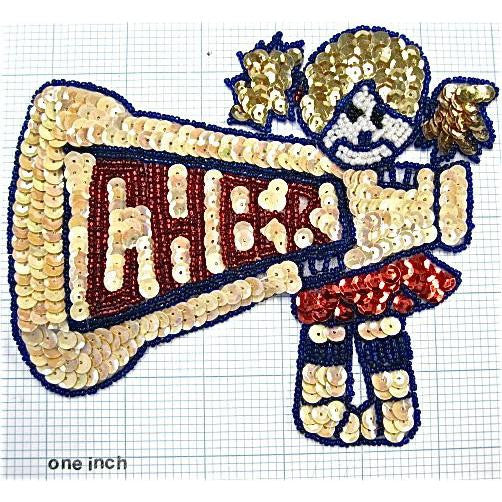 "Cheerleader with Horn 5.5"" x 6.5"""