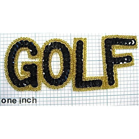"GOLF Word with Gold and Black Sequins and Beads 3.75""x 1.5"""