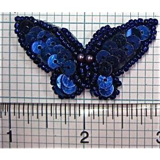 "Butterfly with Blue Sequins and Beads 1.75"" X 1.25"""