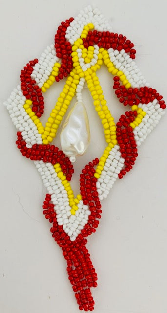 "Designer Motif with Red White Yellow Beads with White Drop Pearl  5"" x 2.5"""