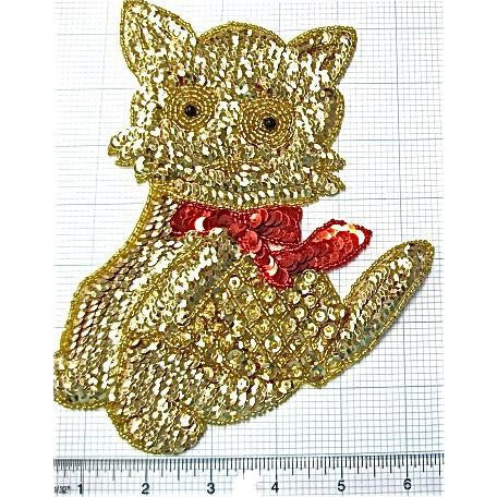"Gold Cat with Red Bow 7.5"" x 6"""