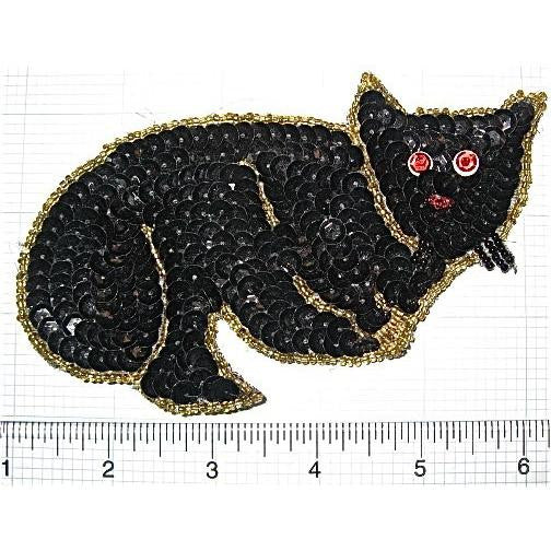 "Catwith Gold  Beads Black Sequins 5.25"" x 3.5"""