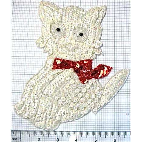"Cat with White Sequins and Red Bow 7.5"" x 6"""