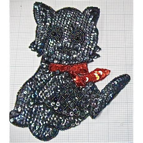 "Moonlight Cat in Red Bow 8"" x 6.5"""