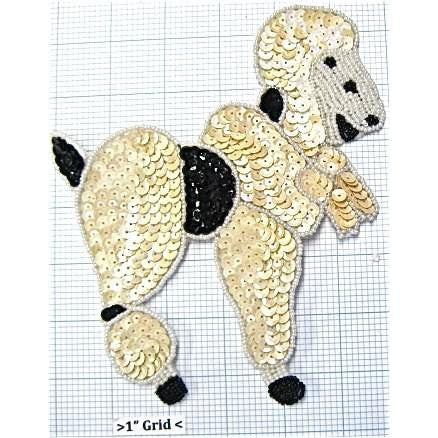 "Poodle with Cream and black colored sequins  4"" x 3.5"""