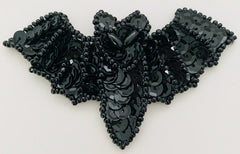 "Bat Black Sequins with White Eyes 2"" x 3"""