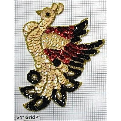 "Bird with Black and Cream Red Sequins and Beads 6"" x 5"""