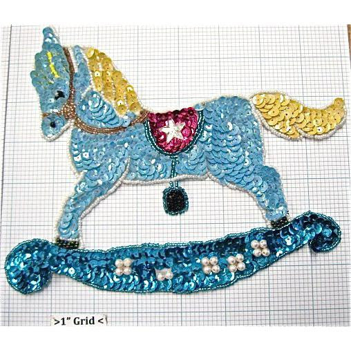 "Horse Lite Blue Sequins  6.5"" x 8"""
