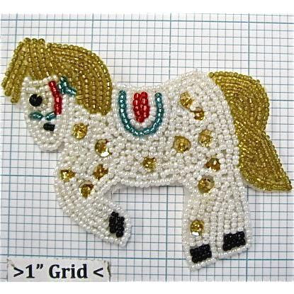 "Horse Galloping with White and Gold Sequins 2.75"" x 4"""