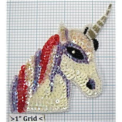 "Unicorn with Pink and Blue Mane 4"" x 3.75"""