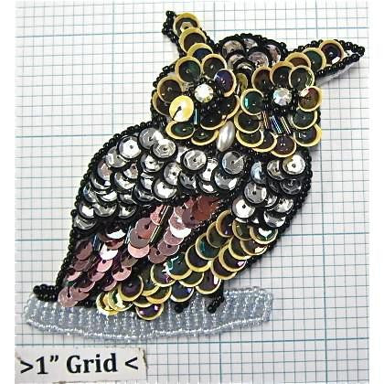 "Owl with Mulit-Colored Sequins and Beads 3"" x 3.25"""