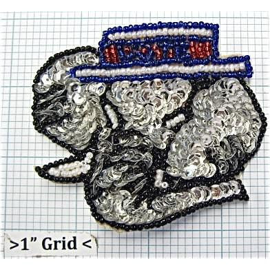 "Elephant with Vote Hat, Sequin Beaded  3"" x 3.5"""