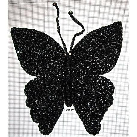 "Butterfly Black with Rhinestone 6.5"" x 6.5"""