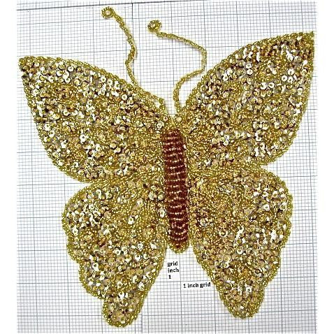 "Butterfly with Gold Sequins and Beads 9.5"" x 9"""