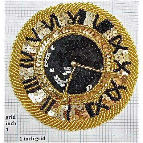 Clock Gold and Black Sequins and Beads 4""