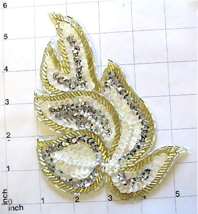 "Designer Motif Gold, Silver, White, with Pearls 6.5"" x 4"""