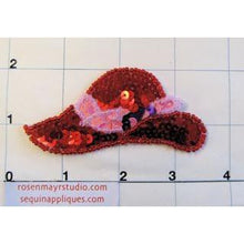 "Load image into Gallery viewer, Hat with Red Sequins and pink and purple band 3"" x 2"""