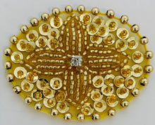 "Load image into Gallery viewer, Designer Motif with Gold Sequins and Beads and Rhinestone  2"" x 1.5"""