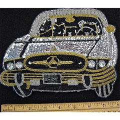 "Mercedes Front View Silver or Gold and Black 8"" x 5"""