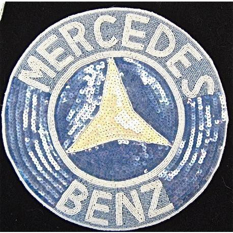 Mercedes Patch Blue and White Sequins and Beads 11""