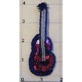 "Guitar Country Western Pink and Blue 4"" x 2"""