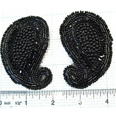 "Sequin beaded and pearled paisley pair. 3"" x 2"" each"