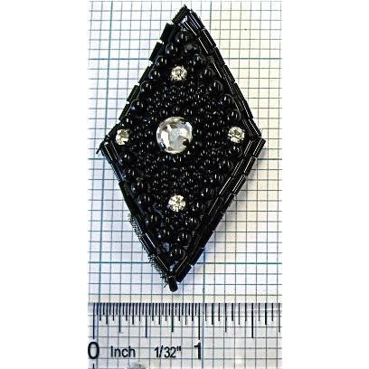 "DIAMOND SHAPE Beaded with rhinestones 3"" x 1.5"""