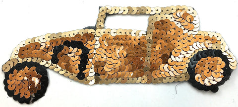 "Car Vintage, with Gold Tone Sequins  7"" x 2.5"""