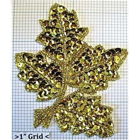 "Leaf with Gold Sequins and Beads 4"" x 4"""