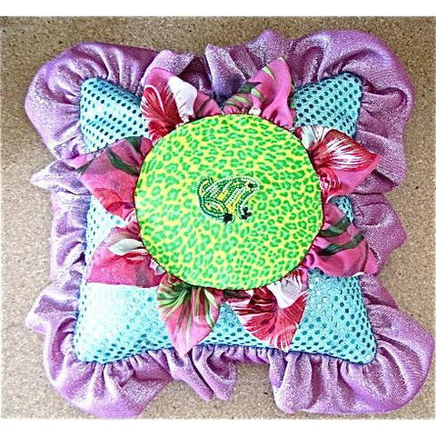 Pillow Handmade with Beaded Frog and Sequins 12""