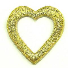 "Heart with Cut-Out in 2 Color Variants Metallic Iron-on 4 for $2.00 2"" x 1.5"""
