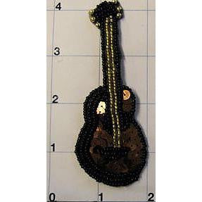 Country Guitar Brown Sequins and Black Beads 4""