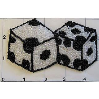 "Roll the Dice with Black and White Beads 2.5"" x 4.5"""