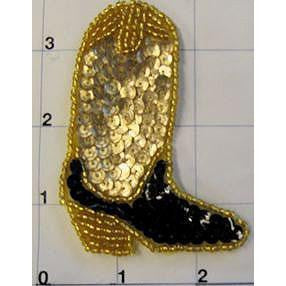 "Cowboy Boot Gold and Black 3"" x 2.5"""