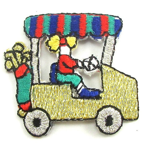 "Golf Cart with Clubs and Golfer Metallic Iron-On  10 for $3.00 1.25"" x 1.25"""