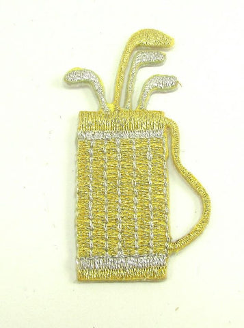 "Golf Bag, Metalic Gold and Silver Embroidered Iton-On 2.25"" x 1"""