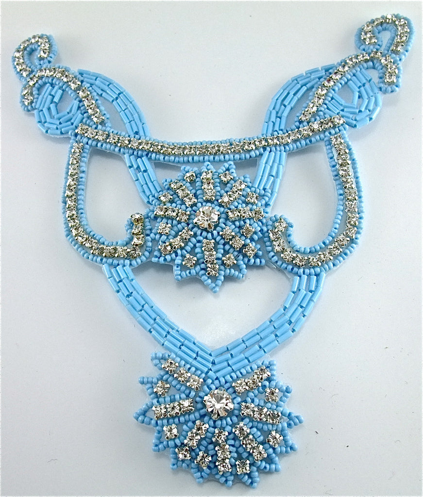 "Designer Neck Line with Turquoise Beads and Rhinestones 7"" x 6.5"""