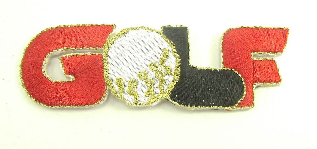 "Word Golf, Red, Balck and White with Gold Metallic Embroiderred Iron-On  3"" x 1"""