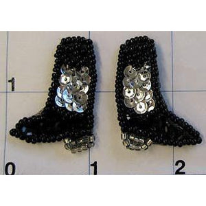 "Cowboy Boots Mini Black and SIlver Pair 1""x 1"""