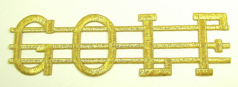 "Gold Word ""Golf"" Spelled out with Gold Metallic Thread 3"" x 9.5""31554"
